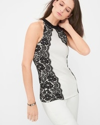 Lace-Detail Sleeveless Sweater