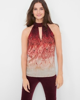 Ombré Paisley Tie-Neck Shell