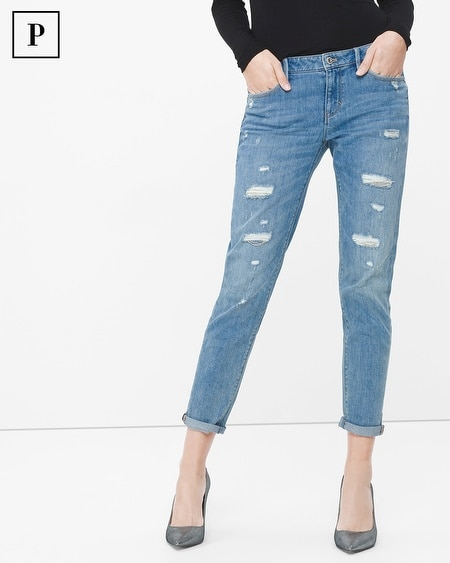 Petite Destructed Chain Girlfriend Jeans