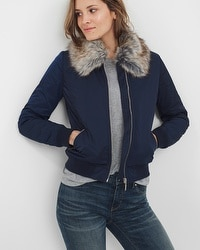 Faux-Fur Collar Bomber Jacket
