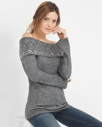 Off-The-Shoulder Embellished Sweater
