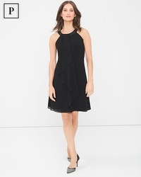 Petite Embellished Neck Black Ruffle Front Dress