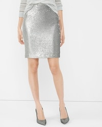 Silver Sequin Pencil Skirt