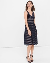 Shadow Stripe Fit-and-Flare Dress