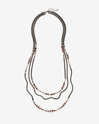 Mesh-Chain Beaded Necklace