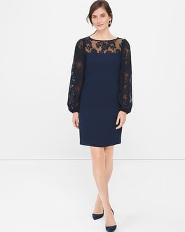 Pleated Lace Sleeve Shift Dress