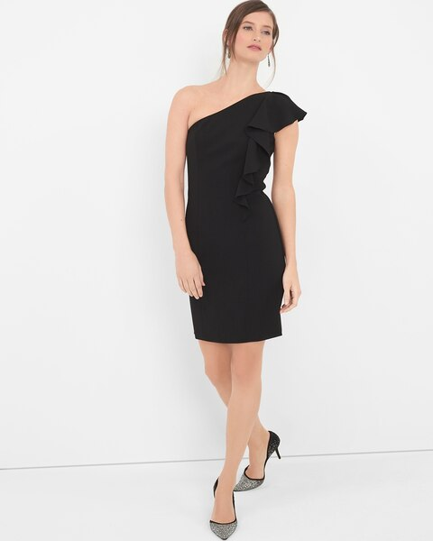 357eaecca41 Return to thumbnail image selection One-Shoulder Black Ruffle Sheath Dress  video preview image, click to start video