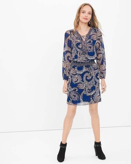 Long-Sleeve Paisley Dress