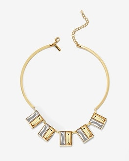 Baguette-Gem Collar Necklace