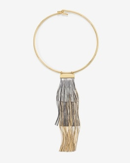 Tri-Tone Fringe Collar Necklace