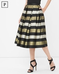 Petite Stripe Pleated Taffeta Midi Skirt