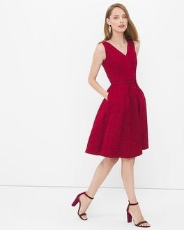 V-neck Jacquard Fit-and-Flare Dress