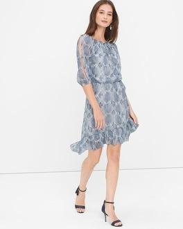Split Sleeve Snake Print High-Low Dress