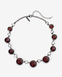 Burgundy Stones Hematite Statement Necklace
