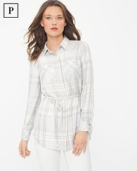 Petite Belted Plaid Shirt