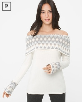 Petite Off-The-Shoulder Fair Isles Sweater