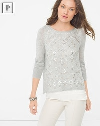 Petite Embellished Split-Back Sweater
