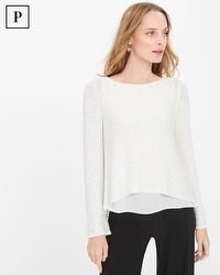 Petite Woven High-Low Hem Sequin Pullover Sweater