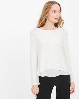 Woven High-Low Hem Sequin Pullover Sweater