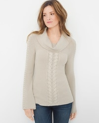 Cable-Front Cowlneck Sweater