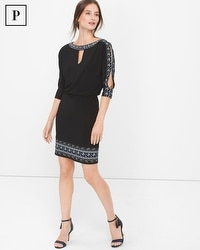 Petite Black Embroidered Blouson Dress