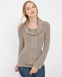 Cable-Front Cowlneck Pullover Sweater