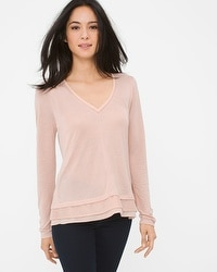 Long-Sleeve Layered Knit Top