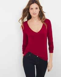 Long-Sleeve V-neck Layering Tee