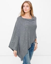Novelty Sequin Poncho Sweater