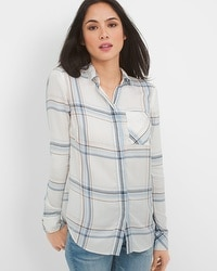 Long-Sleeve Button-Front Plaid Striped Shirt
