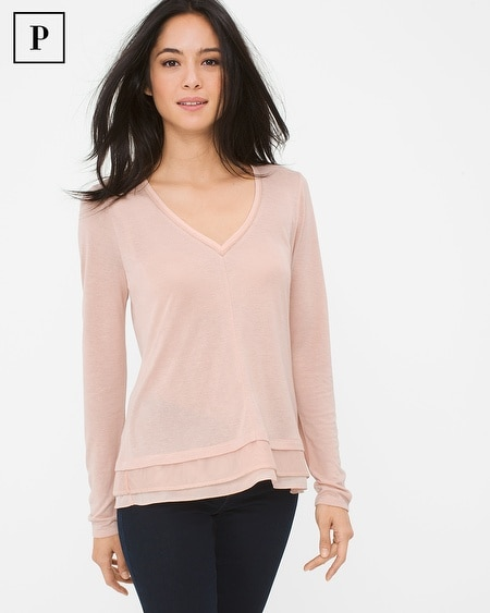 Petite Long-Sleeve Layered Knit Top