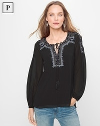Petite Black Embroidered Peasant Blouse