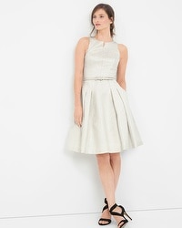 Silver Metallic Jacquard Fit-and-Flare Dress