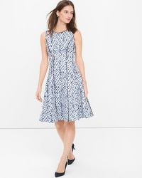 Sleeveless Printed Fit-and-Flare Dress