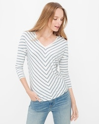 Three-Quarter Sleeve Jetsetter Stripe Tee