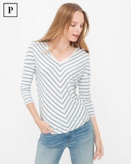 Petite Three-Quarter Sleeve Jetsetter Stripe Tee