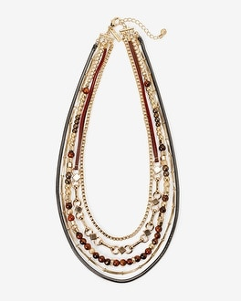 Red Tiger's Eye Beaded Multi-Row Necklace