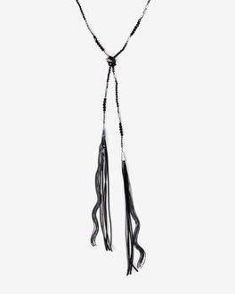 Lariat Necklace with Leather Tassels