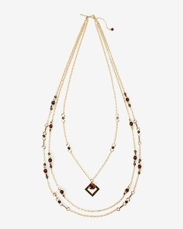 Multi-Strand Red Tiger's Eye Long Necklace