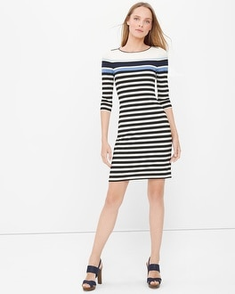 Three-Quarter Sleeve Stripe Chemise Dress