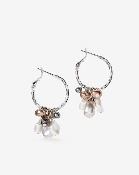Drop Hoop Mixed Metallic Bead Earrings