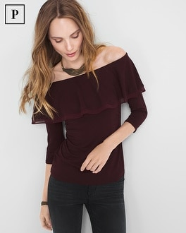 Petite Off-The-Shoulder Flounce Top