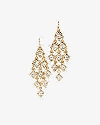 Goldtone Diamond Shapes Chandelier Earrings