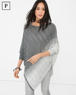 Petite Zigzag-Detail Sweater Poncho