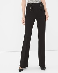 Black Lace Up Waist Flare Pants