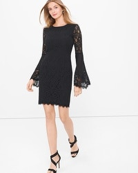 Black Lace Bell-Sleeve Shift Dress