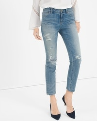 Destructed Straight Crop Jeans