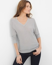 Silver Cutout Shoulder Pullover Sweater