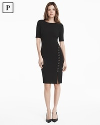 Petite Three-Quarter Sleeve Black Lace-Up Sheath Dress