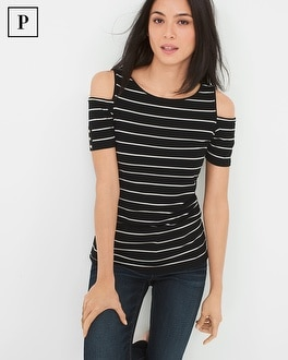 Petite Cold-Shoulder Striped Top
